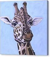 Giraffe Eye To Eye Canvas Print