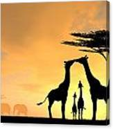 Giraffe Family Love Two Kids Canvas Print