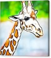 Giraffe Scrimshaw Canvas Print
