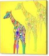 Giraffe X 3 - Yellow Canvas Print