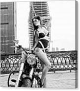 Girl And Harley-davidson Canvas Print