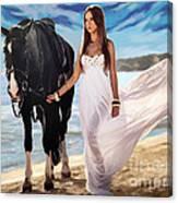 Girl And Horse On Beach Canvas Print