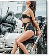 Girl And Motorcycles Canvas Print