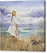 Girl At The Ocean Canvas Print