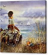 Girl And The Ocean Sitting On The Rock Canvas Print