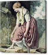 Girl At A Conduit Canvas Print