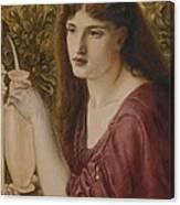 Girl At A Fountain Canvas Print