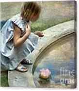 Girl At The Pond Canvas Print