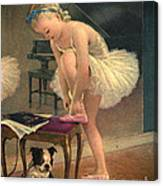 Girl Ballet Dancer Ties Her Slipper With Boston Terrier Dog Canvas Print
