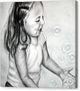 Girl Blowing Bubbles II Canvas Print