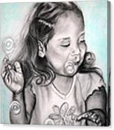Girl Blowing Bubbles Canvas Print