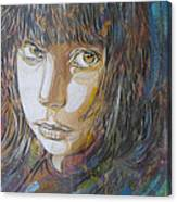 Girl By C215 Canvas Print
