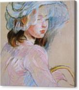 Girl Carrying A Basket Canvas Print