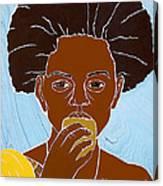 Girl Eating Mango Canvas Print