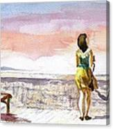 Girl Enjoying The View Canvas Print
