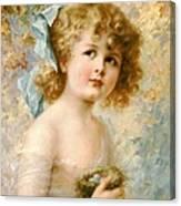 Girl Holding A Nest Canvas Print