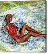 Girl In A Red Swimsuit Canvas Print