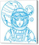 Girl In A Spacesuit For T-shirt Design Canvas Print