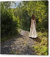 Girl In Country Lane Canvas Print