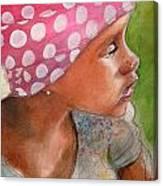Girl In Pink Bandanna Canvas Print