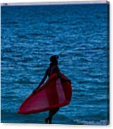 Girl In Red Float Canvas Print