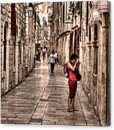 Girl In Red In The White Streets Of Dubrovnik Canvas Print