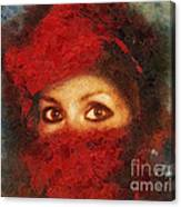Girl In Red Turban Canvas Print