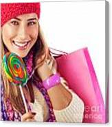 Girl Lick Sweets And Holding Pink Bag Canvas Print