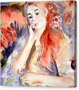 Girl Lounging  After Renoir Canvas Print