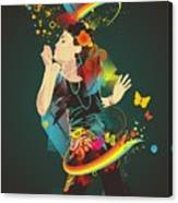 Girl Making Soap Bubbles,rainbow And Canvas Print