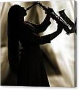 Girl Musician Playing Saxophone In Silhouette Sepia 3353.01 Canvas Print