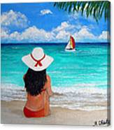 Girl On A Turquoise Beach Canvas Print