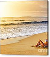Girl On Seashore  Canvas Print