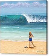 Girl On Surfer Beach Canvas Print