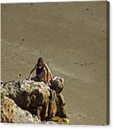 Girl On The Rocks - Compton Bay Canvas Print