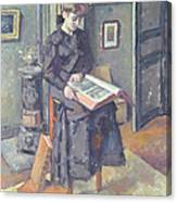 Girl Reading A Book Canvas Print