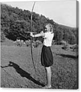 Girl Scout With Bow And Arrow Canvas Print