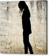 Girl Walking In Front Of Cement Wall Canvas Print