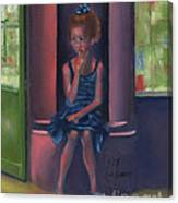 Girl With A Blue Bow Canvas Print