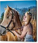 Girl With A Horse Canvas Print