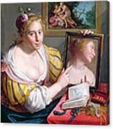 Girl With A Mirror, An Allegory Canvas Print