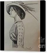 Girl With Feathered Hat Canvas Print