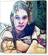 Girl With Her Black Cat Canvas Print
