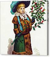 Girl With Holly Canvas Print
