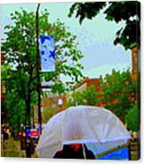 Girl With Large Umbrella Its Raining Its Pouring April Showers Montreal Scenes Carole Spandau Art Canvas Print