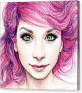 Girl With Magenta Hair Canvas Print