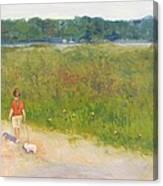 Girl Walking Dog Canvas Print