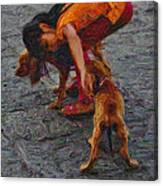 Girl With Two Dogs Canvas Print