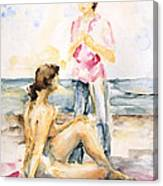 Girlfriends At The Beach Canvas Print