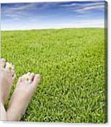 Girls Feet On Grass With Flowers Canvas Print